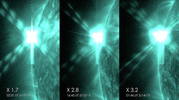 These pictures from NASA's Solar Dynamics Observatory show the three X-class flares that the sun emitted in under 24 hours on May 12-13, 2013. The images show light with a wavelength of 131 angstroms, which is particularly good for showing solar flares and is typically colorized in teal. Credit: NASA/SDO Photo: NASA