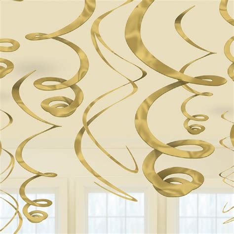 gold hanging swirls party decorations  golden