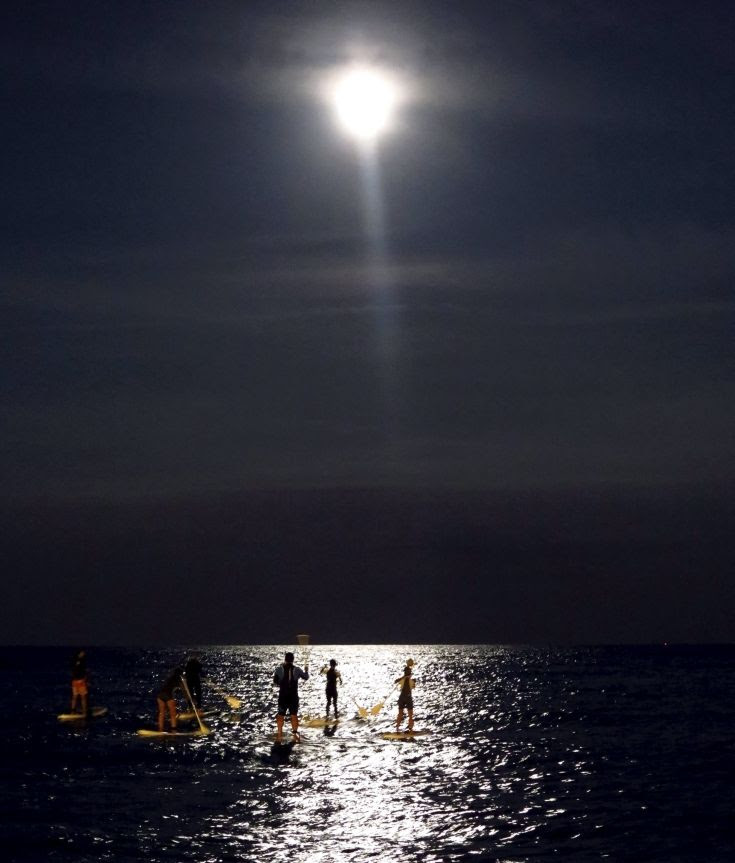 Stand up paddle boarders paddle under the supermoon off the beach in Barcelona