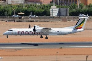 An Ethiopian Airlines Q400 in Khartoum