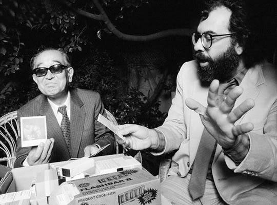 Francis Ford Coppola shows Akira Kurosawa his new polaroid