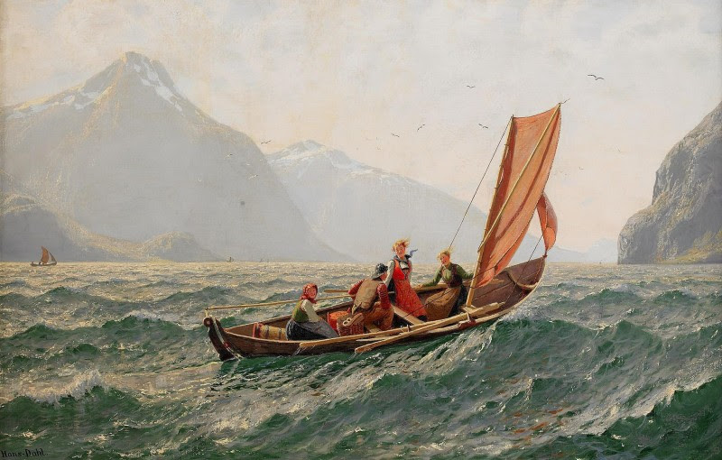 Sailing Board By Hans Dahl, Oil Painting
