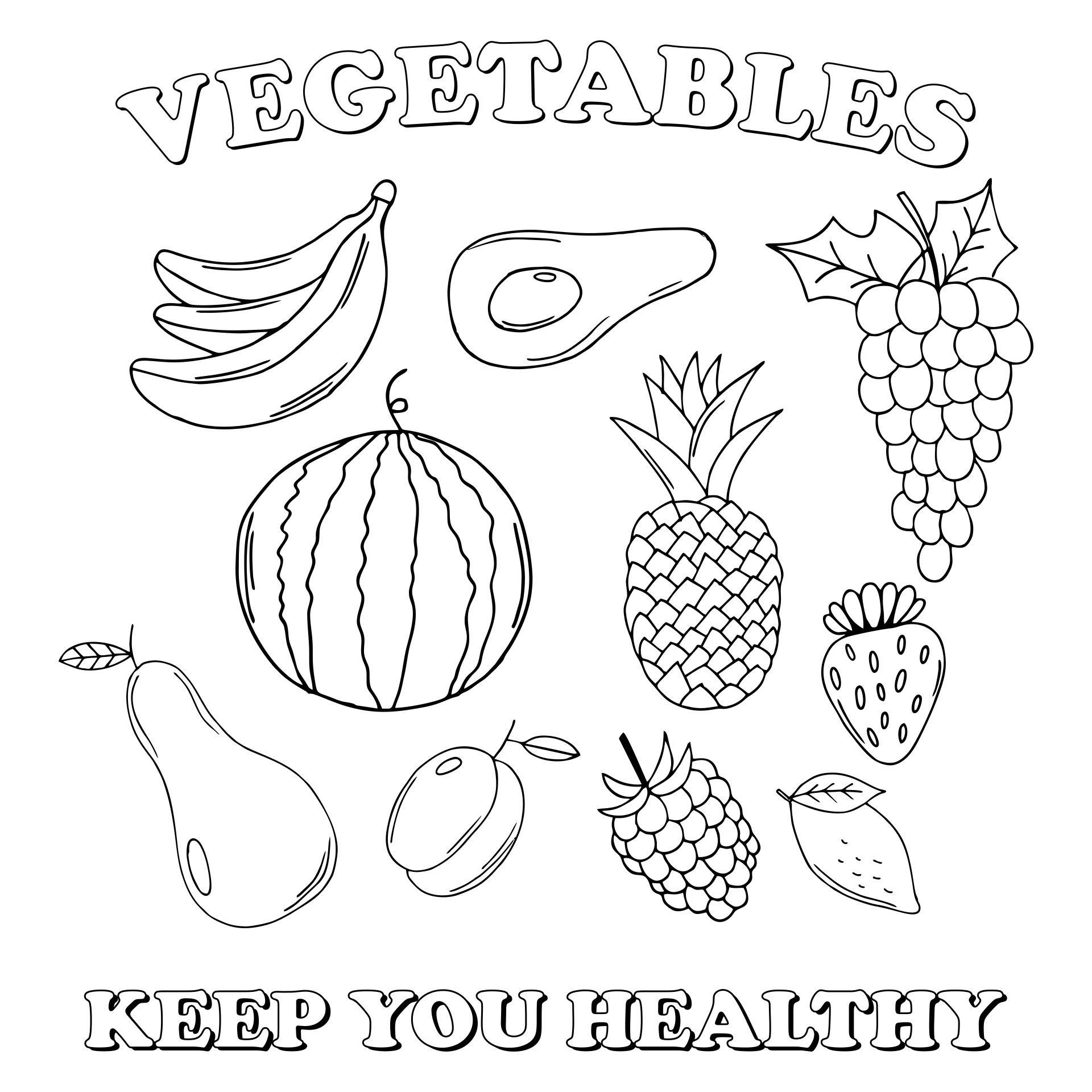 Cornucopia Vegetables Coloring Page | Vegetable coloring pages ... | 1024x791