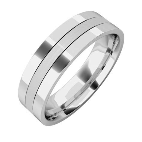 Mixed finish mens ring in 18ct white gold   PDWG032W