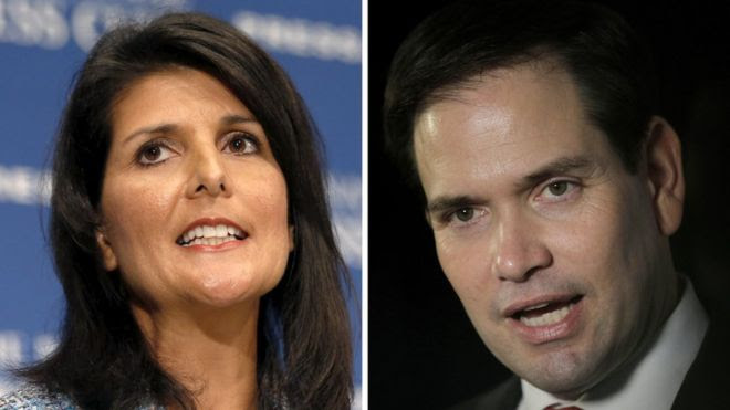 Nikki Haley (left) and Marco Rubio (right)