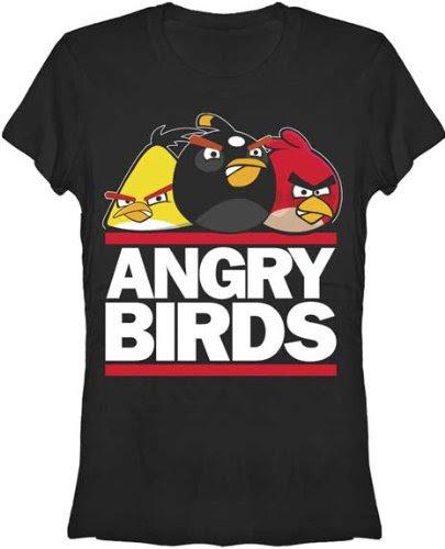 Angry Birds T-Shirt ~ Run Birds ~ 100% Cotton ~ Womens Shirt