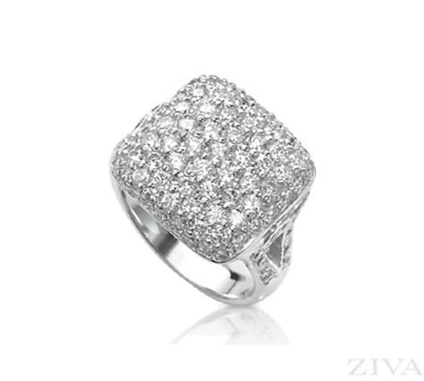 Square Pave Diamond Ring