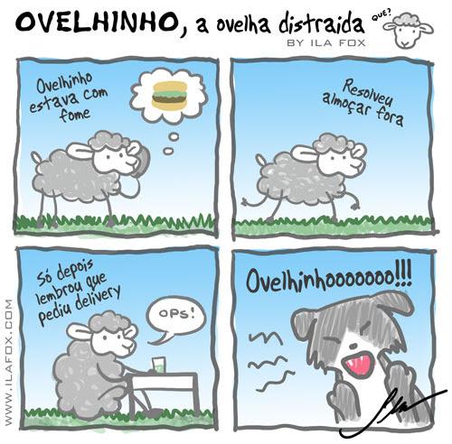 ovelhinho, a ovelha distraída pediu delivery, quadrinhos by ila fox