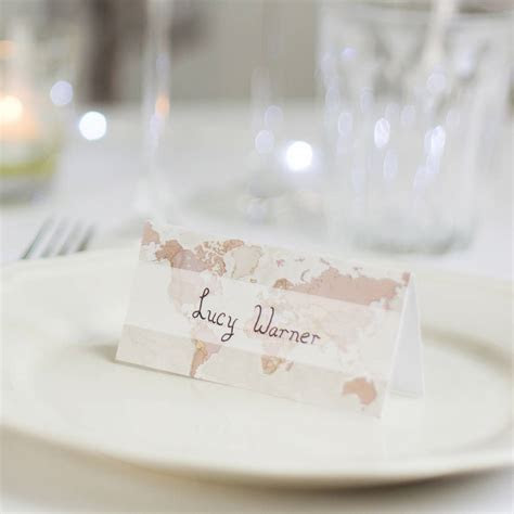 antique world map wedding place cards pack of ten by maps