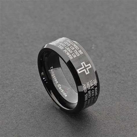 8mm Black Tungsten Christian Cross Bible Scroll Etch Men's