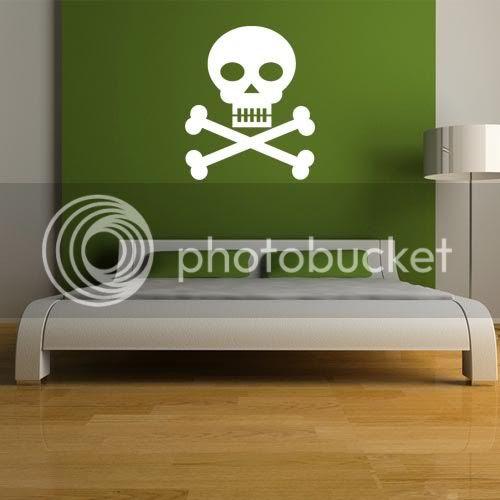 Skull Crossbones Vinyl Wall Art Sticker Boys Bedroom Decor PI035 ...