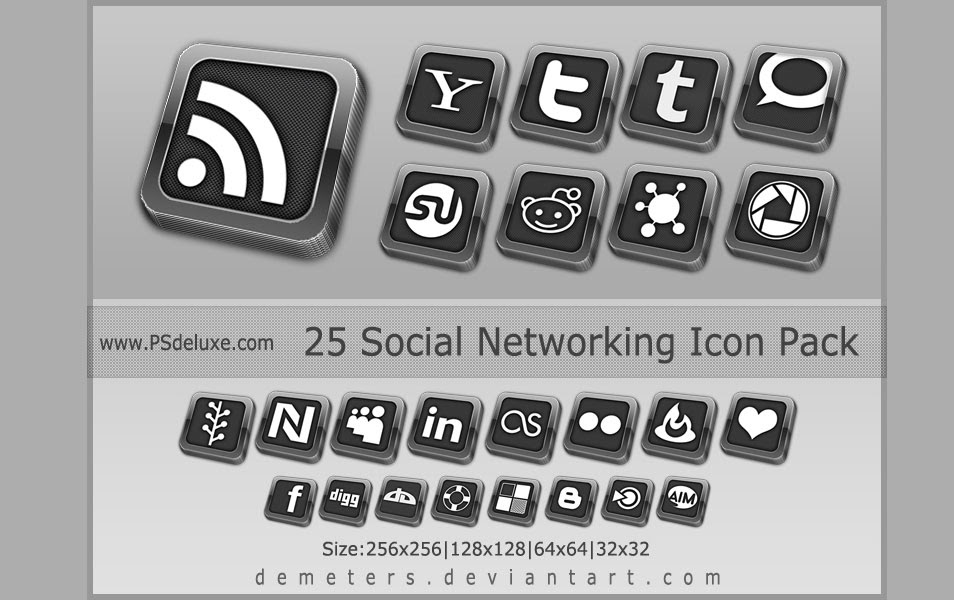 25 Free Elegant Social Networking Icon Pack