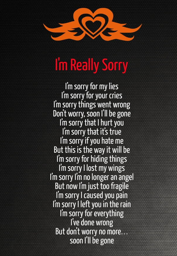 Her im for sorry poems I'M Sorry