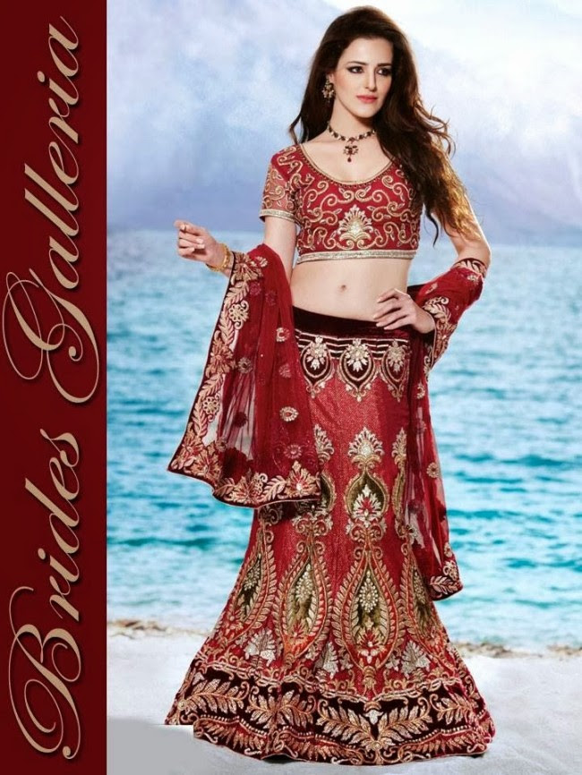 Indian-Bridal-Wedding-Lehangas-Velvet-Embroidered-Blouse-Fish-Cut-Lehenga-by-Brides-Galleria-12