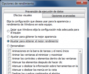 Windows 7 Opciones de rendimiento Efectos visuales1 300x250 Trucos y Aplicaciones para Optimizar Acelerar Windows 7