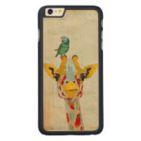 PEEKING GIRAFFE & PARROT Carved iPhone Case Carved® Maple iPhone 6 Plus Slim Case