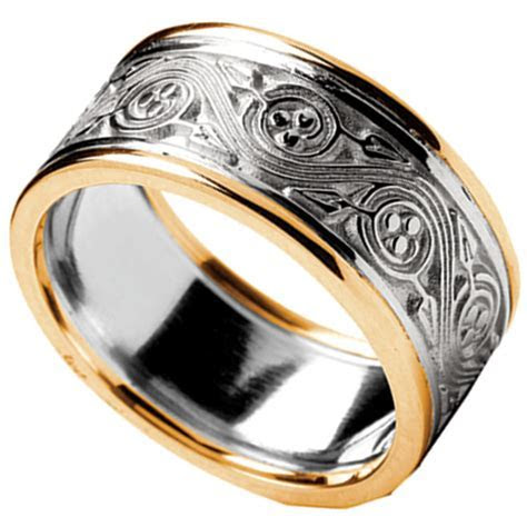 Irish Ring   Men's White Gold with Yellow Gold Trim