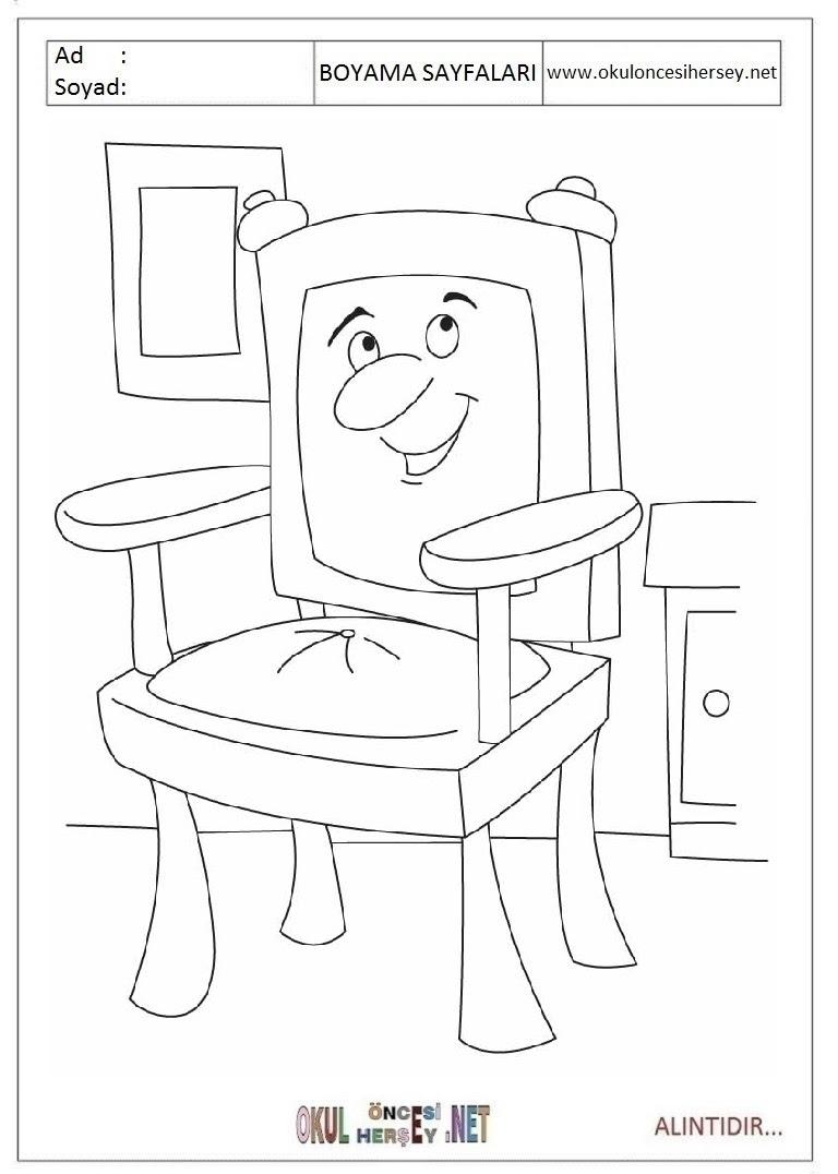 Sandalye Boyama Sayfaları