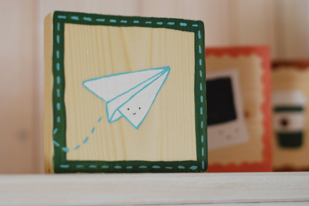 Paper Airplane tiny painting