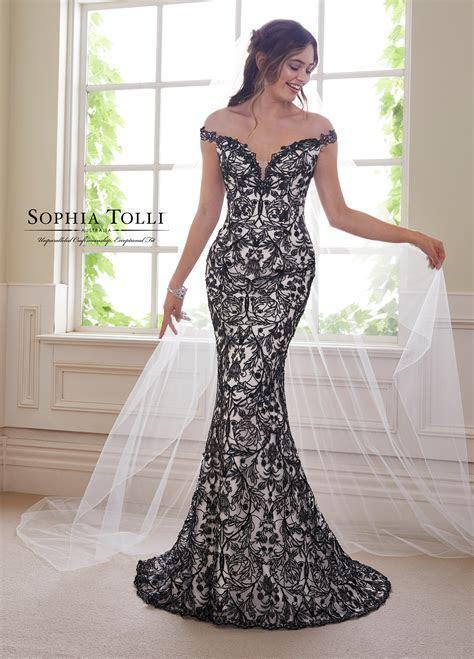 2 Piece Wedding Dress Set with Black Lace   Y21810B Obsidian