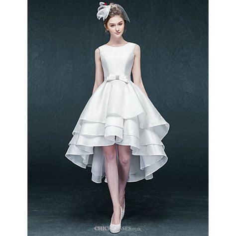 A line Asymmetrical Wedding Dress   Jewel Satin,Cheap Uk