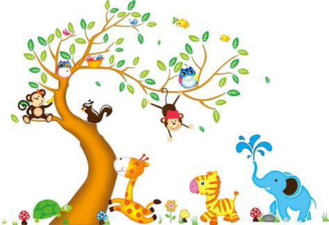 desain  lapisan ganda kartun kebun binatang lucu