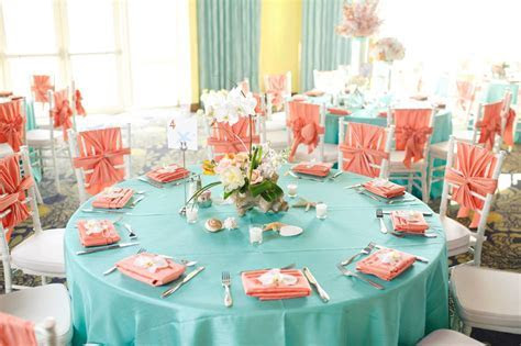 teal and peach colors  love the chiavari chairs with chair
