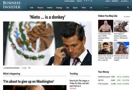 La portada del portal de noticias estadunidense Business Insider.