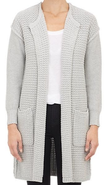 Barneys New York Mixed Knit Open-Front Sweater