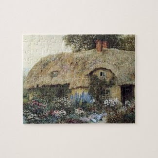 Vintage Country Cottage with Flower Garden Puzzle