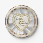 Gold & Faux Diamond & Glitter Wedding Anniversary 7 Inch Paper Plate