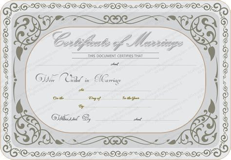 Silver State Marriage Certificate Template