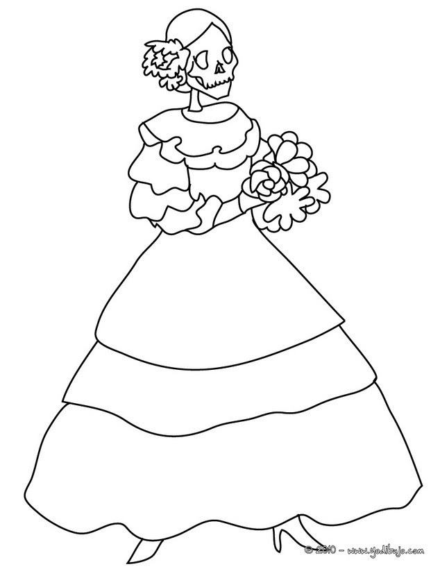Dibujos Para Colorear La Catrina El Dia De Los Muertos Es