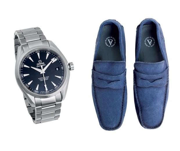 Mocassins VR R$ 409 ; Relógio Omega Aqua Terra Master Co-Axial R$ 17.200 (Foto: Carlos Bessa)