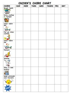 Kaylas (3 years old) new chore chart. The stickers for each item ...