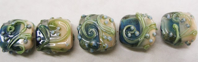 Lampwork Beads -TRELLIS SWIRLS,Salmon and Dusty Blue  - HandMade LampWork Glass Beads  By Kathleen Robinson-Young (set of 5beads)