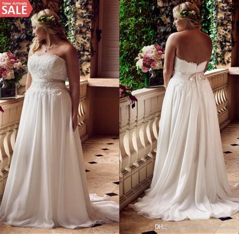 Discount Plus Size Lace Beach Wedding Dresses 2016 Big
