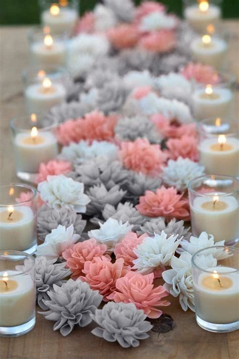 Coral And Silver Wedding Decorations