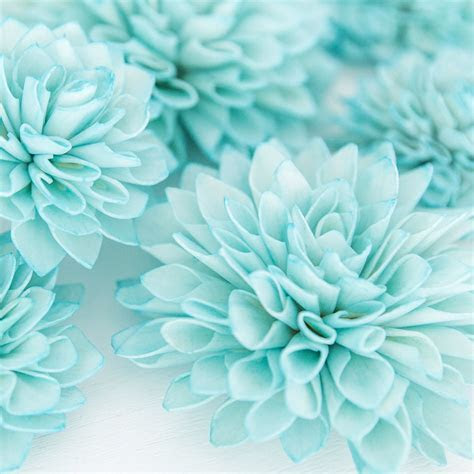10 Aquamarine Wooden Flowers, Wedding Decorations, Wedding