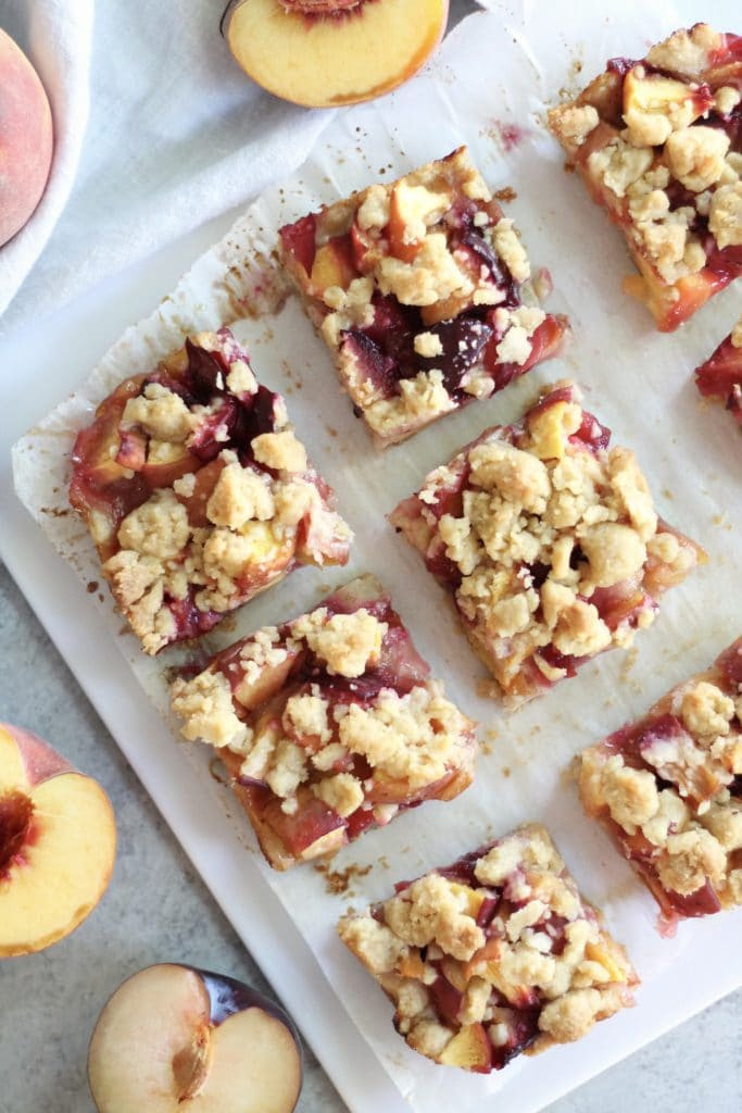 Vanilla Bean Peach Plum Pie Crumble Bars