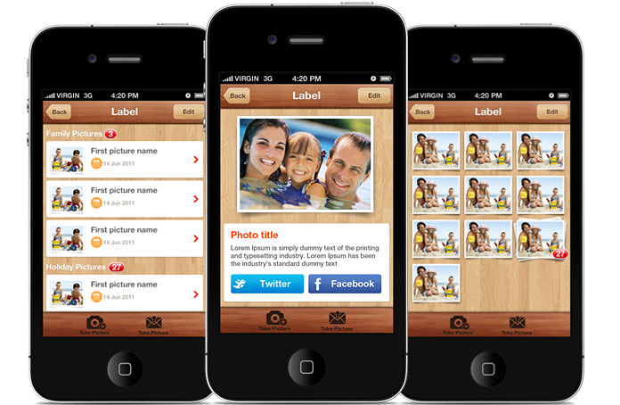 Photoly iPhone and iOS App UI Design Templates