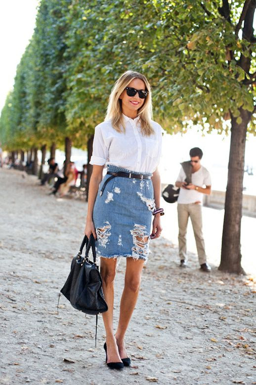 Le Fashion Blog 7 Ways To Style A Distressed Denim Skirt Street Style A Love Is Blind White Button Down Shirt Black Skinny Belt High Waist Ripped Torn Jean Skirt Black Leather Balenciaga Bag Suede D'orsay Pumps Heels 3 photo Le-Fashion-Blog-7-Ways-To-Style-A-Distressed-Denim-Skirt-Street-Style-A-Love-Is-Blind-3.jpg
