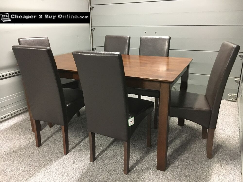 WOODEN DINING TABLE AND 6 BROWN FAUX LEATHER CHAIRS DARK OAK WALNUT FINISH NEW  eBay