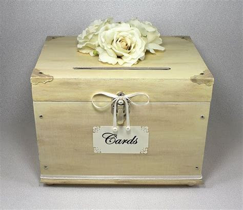 Ivory Wooden Wedding Card Box Trunk. Vintage Shabby Chic