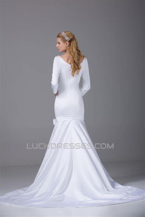 Mermaid/Trumpet 3/4 Length Sleeve Scoop Satin Wedding