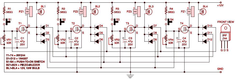 Quiz Buzzer Circuit Diagram on