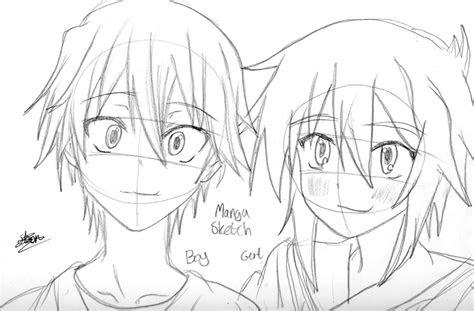 manga boy  girl sketch  flashtheteddy  deviantart