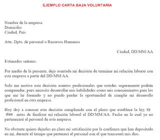 Carta De Baja Voluntaria En El Trabajo Sin Preaviso Sample