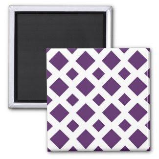 Purple Diamonds on White Refrigerator Magnets