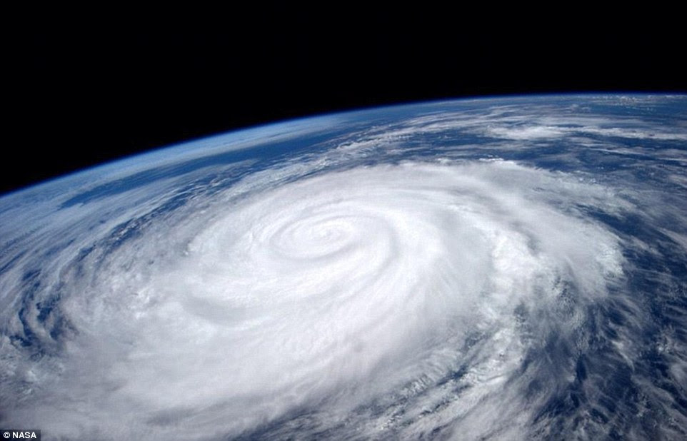 Mesmerising: Hurricane Marie, as seen from the ISS in August. The storm was pictured while spinning off the Pacific coast of Mexico